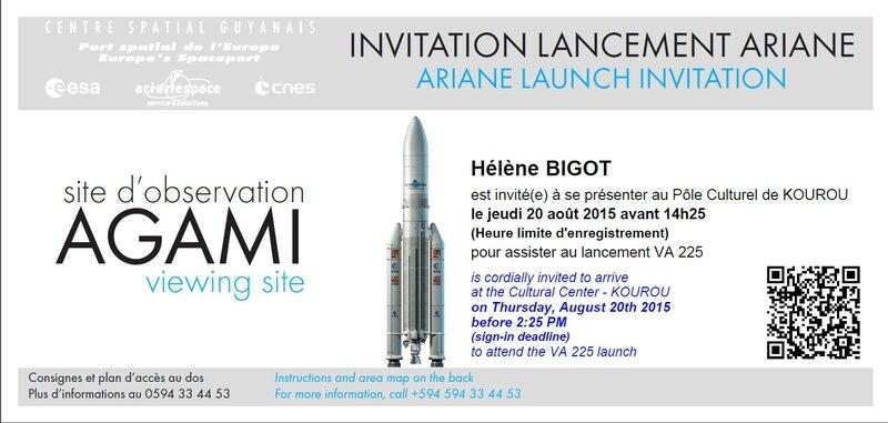 Lancement Ariane 5 Invitation