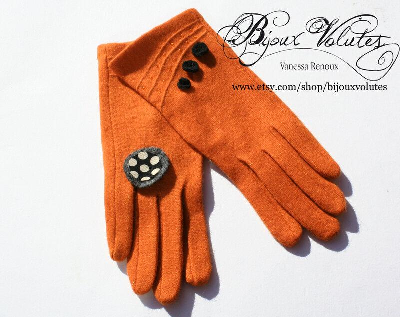 gants_femme_laine_orange_pois