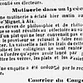 Mutinerie au lycée mignet à aix en provence en 1900