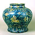 Three-color glazed jar with design of figures, Ming Dynasty, 15th-16th century