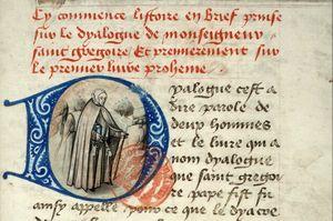 Ermite cheminant-initiale D -1450-1474-La Fleur des Histoires-Jean Mansel- Livres 3 et 4- Ms 1560 Bibl Mazarine