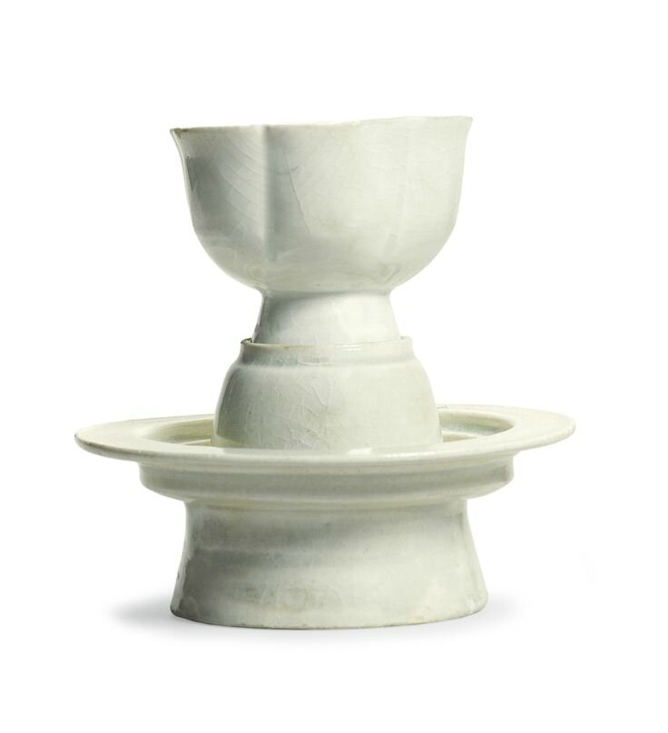 A 'Qingbai' stemcup and stand, Song dynasty