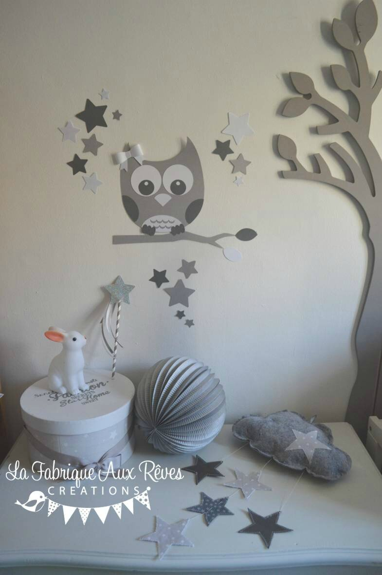 d coration chambre enfant b b mixte gris fonc blanc gris clair photo de 13 stickers hibou. Black Bedroom Furniture Sets. Home Design Ideas