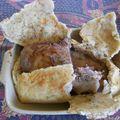 Gigot d'agneau de lait en croute de sel, pommes boulangères