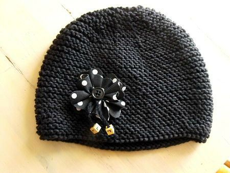 modele tricot bonnet point mousse