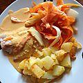 Filets de saumon sauce chorizo et ses légumes
