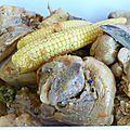 Poulet au maïs, combava et kaloupilé