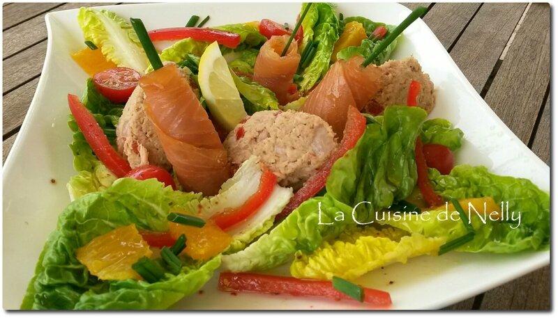 Salade au thon et saumon mariné2