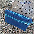 Pochette à paillettes bleu marine et petit pan