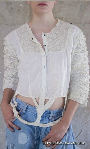 08-MP Cotton Crinoline Blouse with bonding, lace ruffled sleeves, and antiqued snaps, Ivory