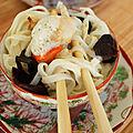 Nouilles chinoises aux saint jacques, emulsion de la mer et resultat du calendrier gourmand !