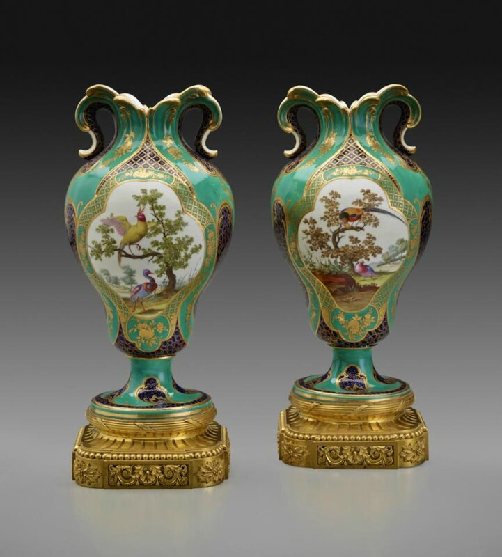 Pair of Vases à Oreilles, Sèvres Porcelain Manufactory, French, ca