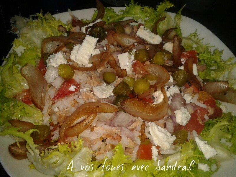 Salade de riz thon féta