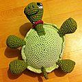 Petite tortue coquette se fait bronzer le ventre