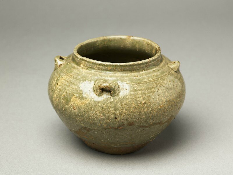 Greenware guan, or jar, with loop handles, Yue kiln-sites, 4th century AD, Western Jin Dynasty (AD 265 - 316) - Eastern Jin Dynasty (AD 317 - 420) - Six Dynasties Period (AD 221 - 589)