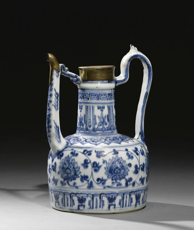 A Jiajing blue and white porcelain ewermade for the Islamic Market, China, Ming Dynasty, with Ottoman gilt mounts