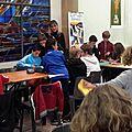 Cafés littéraires : un atelier in situ pour les élèves avec claire cantais autour de votez victorine