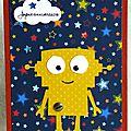 carte d'anniversaire pour garçon avec robot dans ciel étoilé