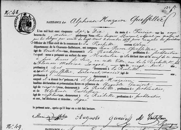 1857 le 10 février La Rochelle naissance de Alphonse Nazaire Queffellec_2