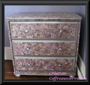 Commode relookage photo de serviettage petit grand for Decopatch meuble