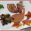Pintade fermiere marinee au vin rouge, champignons frais poeles et ses etoiles de potiron