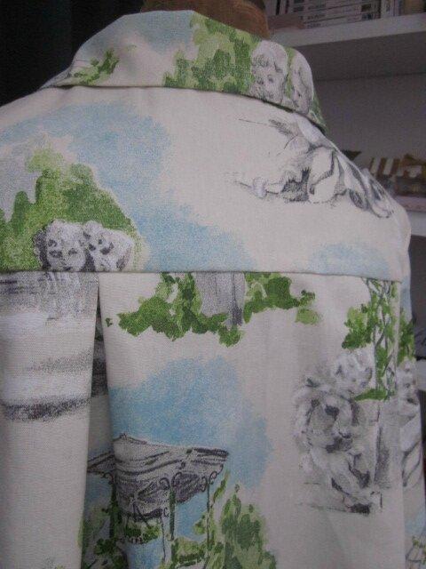 Manteau AGLAE en toile de coton imprimé jardins à la française - noeud de lin gris (8)