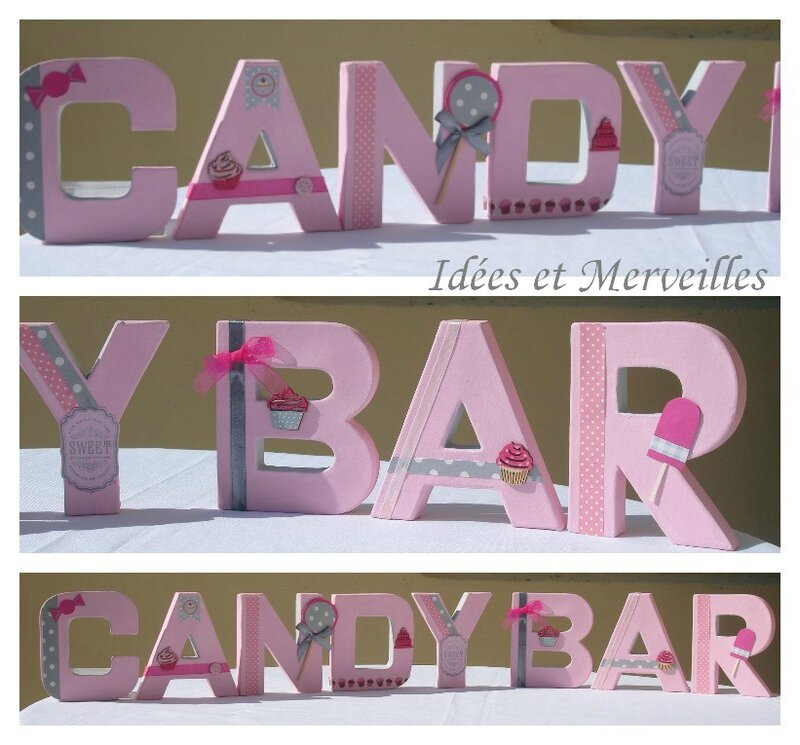 lettrage CANDY BAR - idees et merveilles