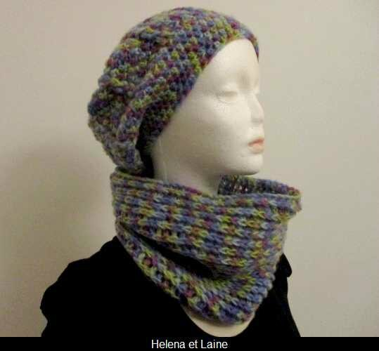 Ensemble bonnet et snood multicolor au crochet
