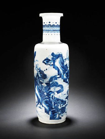 A_rare_large_blue_and_white_rouleau_vase