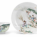 A famille rose 'scholar and fisherman' semi-eggshell dish, yongzheng period (1723-1735)