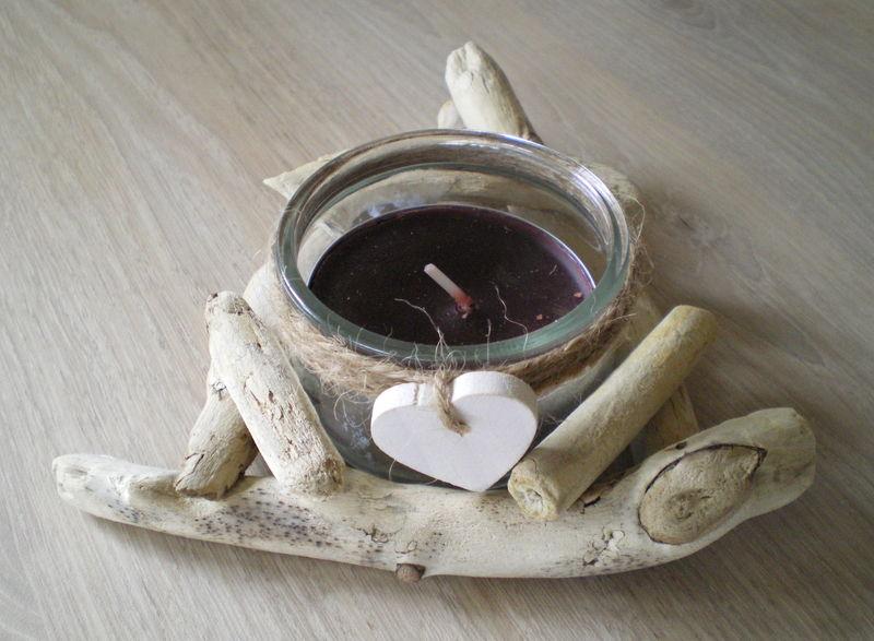 Bougeoir en bois flott la belle au bois flotte for Coeur en bois flotte