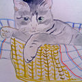 Chat aquarelle - cat in its basket