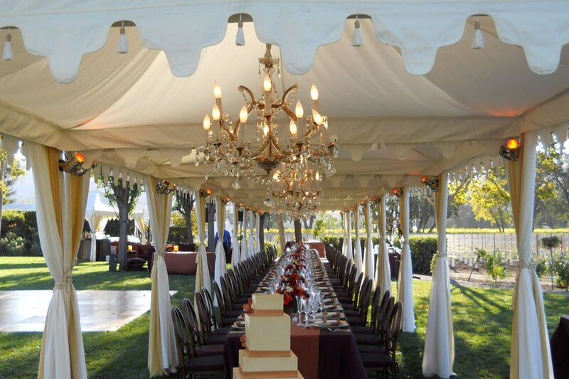 Plain-Cream-Pergola-long-dining-tent-with-crystal-chandeliers