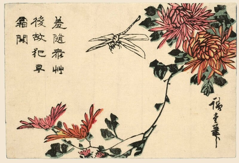 Utagawa Hiroshige Dragonfly And Chrysanthemums About 1837 1838 Woodblock Color Print 11 X 164 Cm