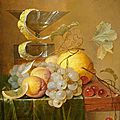 Jan davidsz. de heem, still life with grapes, apricots, cherries, a lemon and drinking glasses on a table top