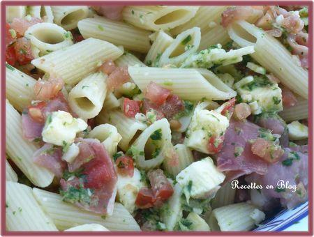 salade de pâtes feta jambon cru basilic2