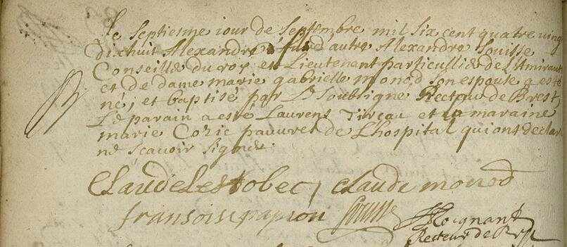 N alexandre souisse 7 septembre 1698 B7S