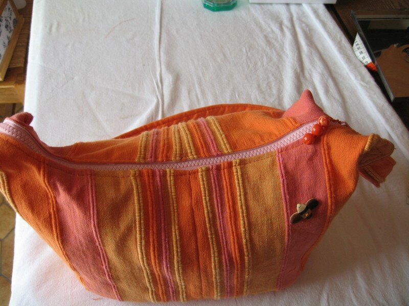 Sac Bambou madras orange
