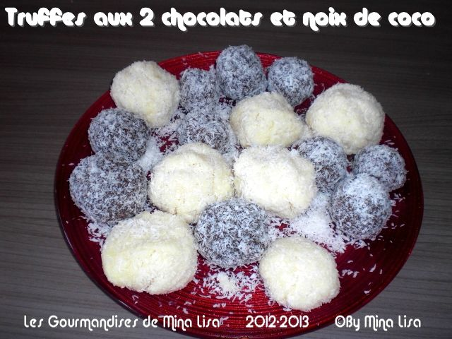 truffes aux 2 chocolats et noix de coco
