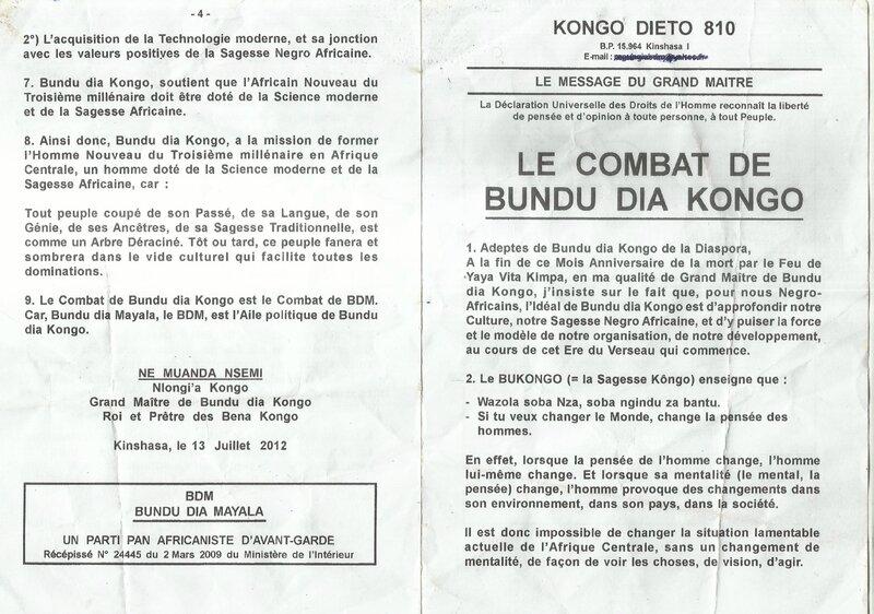 LE COMBAT DE BUNDU DIA KONGO a