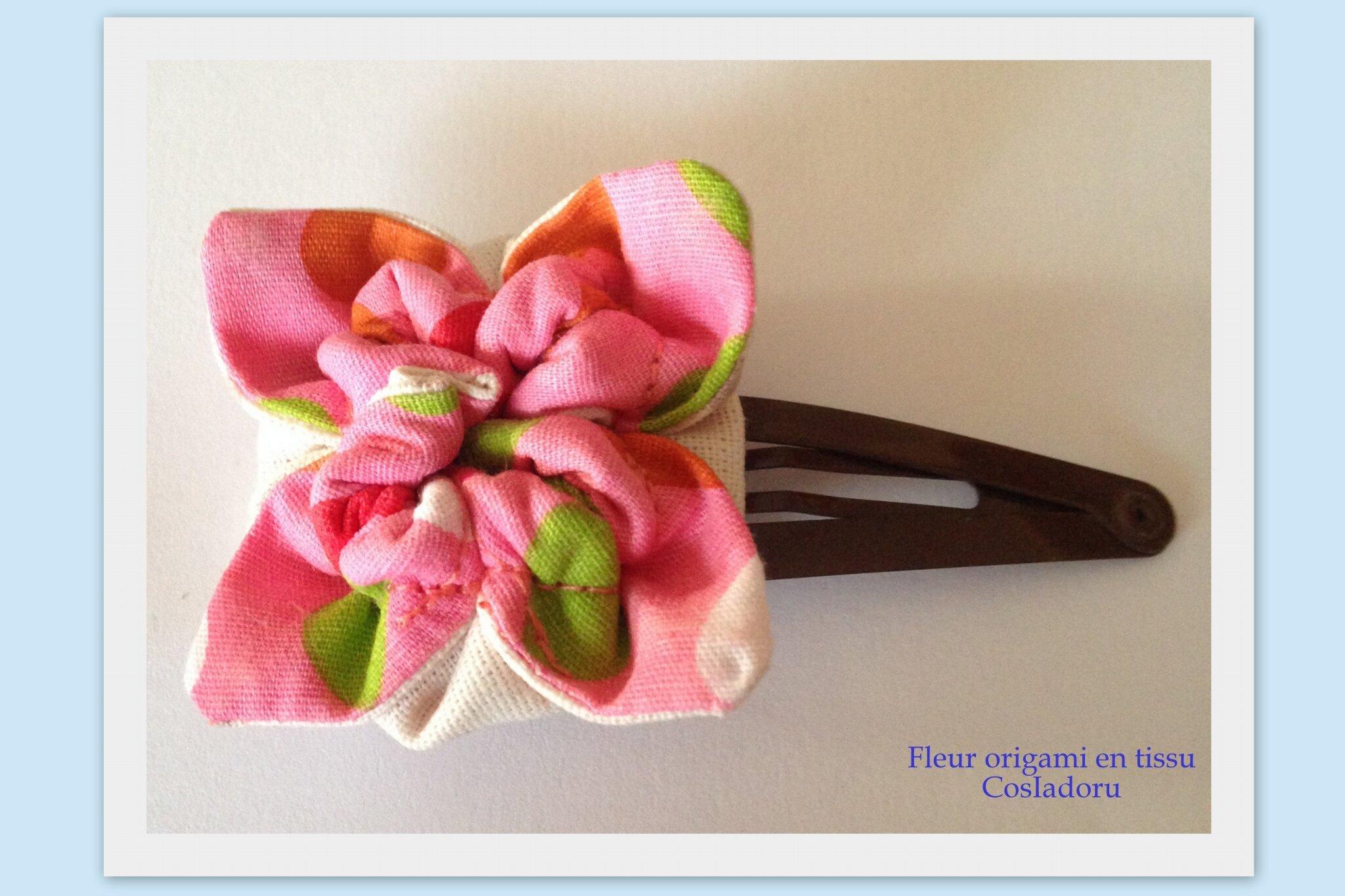 barrette fleur en origami cosiadoru. Black Bedroom Furniture Sets. Home Design Ideas