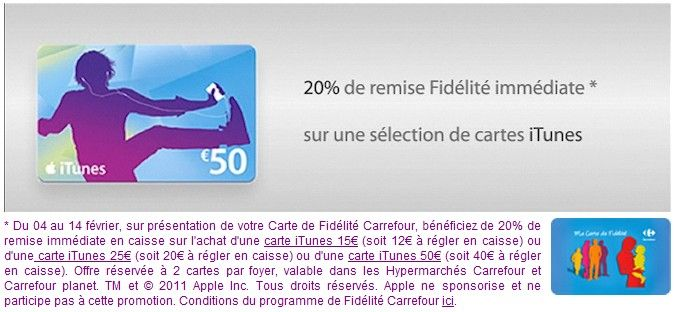 promo st valention chez carrefour 20 sur cartes itunes le blog des cartes cadeaux. Black Bedroom Furniture Sets. Home Design Ideas