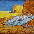 reproduction la sieste de van gogh aux pastels OF