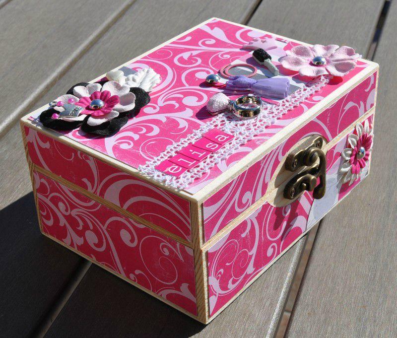 Home d co boite en bois customis e girly le blog de la - Decoration boite en bois ...