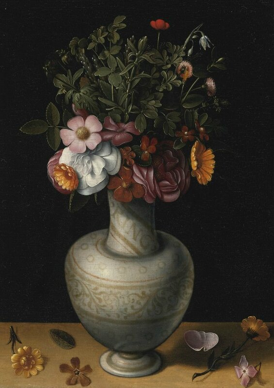 Ludger tom Ring (Münster 1522 - 1584 Brunswick), Still Life with Wild Roses, Peonies and Other Flowers in a White Earthenware Vase