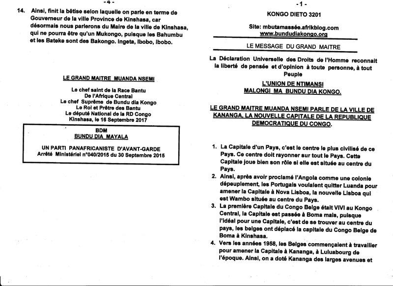 LE GRAND MAITRE MUANDA NSMEI PARLE DE LA VILLE DE KANANGA a