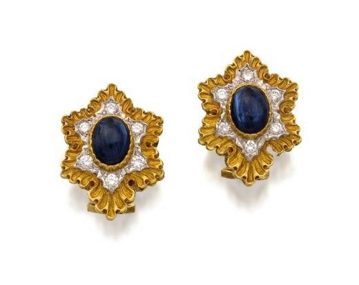Pair of 18ct gold, sapphire and diamond earrings, Buccellati