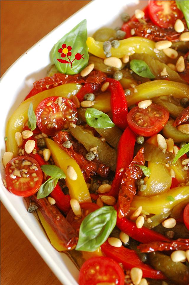 salade de poivrons aux deux tomates assaisonnement de choc gourmandise