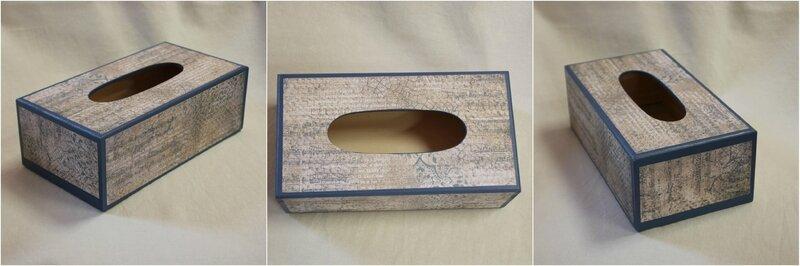 Boîte à mouchoirs bleue détails