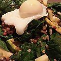 Salades de crudités d'épinards, fenouil et avocat et son méli-mélo de riz complet et lentilles blondes !